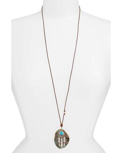 Chan Luu | Metallic Dyed Stone Pendant Necklace | Lyst