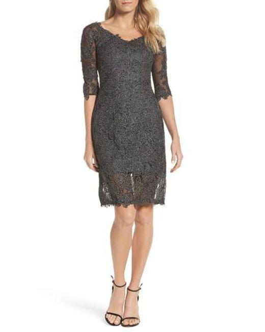 La Femme - Gray Lace Sheath Dress - Lyst