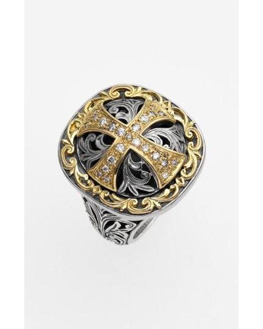 Konstantino | Metallic 'diamond Classics' Diamond Cross Two-tone Ring | Lyst