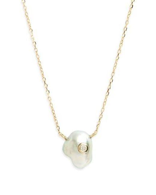Mizuki   Metallic Sea Of Beauty Pearl & Diamond Pendant Necklace   Lyst