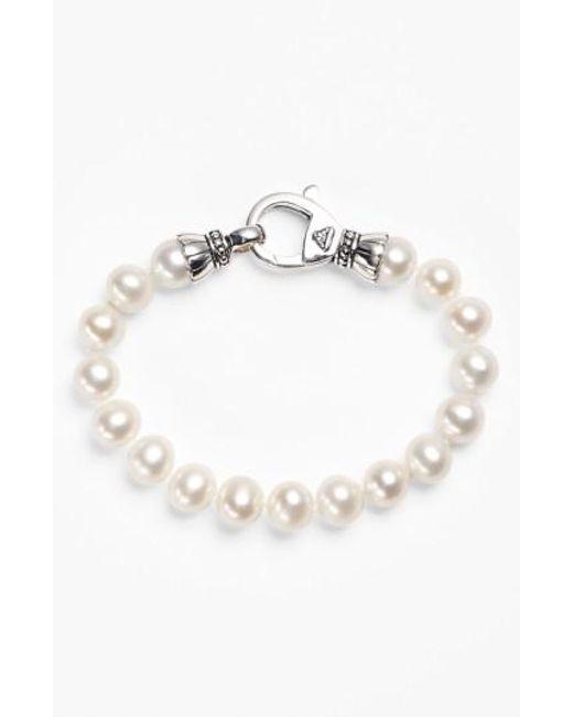 Lagos | Metallic 'luna' 9mm Pearl Bracelet | Lyst