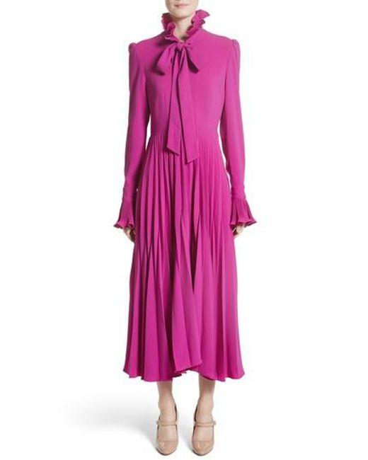 Co. | Pink Ruffle & Pleated Midi Dress | Lyst