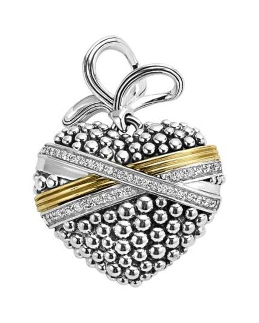 Lagos | Metallic 'diamond Caviar' Diamond Heart Pendant | Lyst