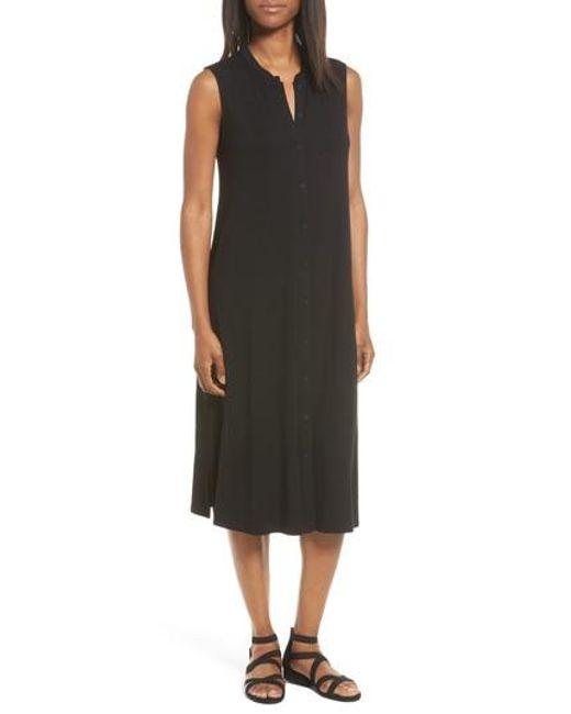 Eileen Fisher | Black Jersey Mandarin Collar Duster Dress | Lyst