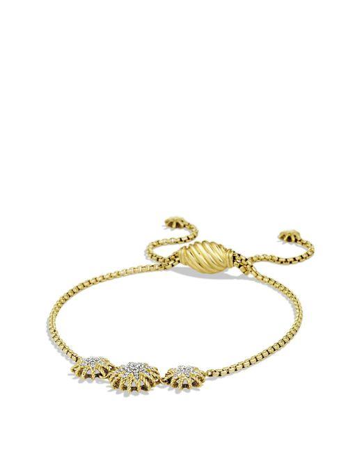 David Yurman - Metallic 'starburst' Three-station Bracelet With Diamonds In Gold - Lyst