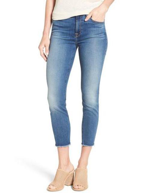 Jen7 | Blue Crop Skinny Jeans | Lyst