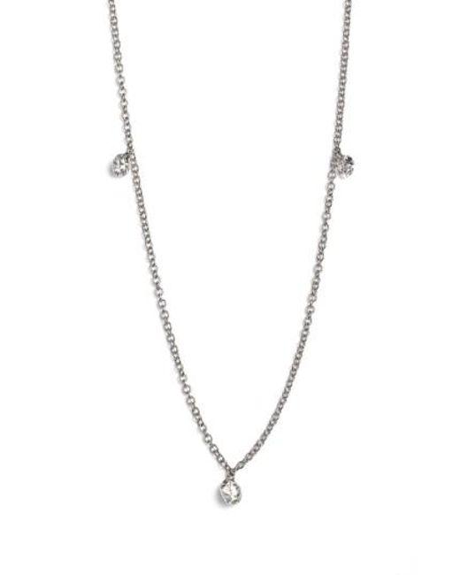 Bony Levy - Metallic 'floating Diamond' 3-diamond Necklace (nordstrom Exclusive) - Lyst