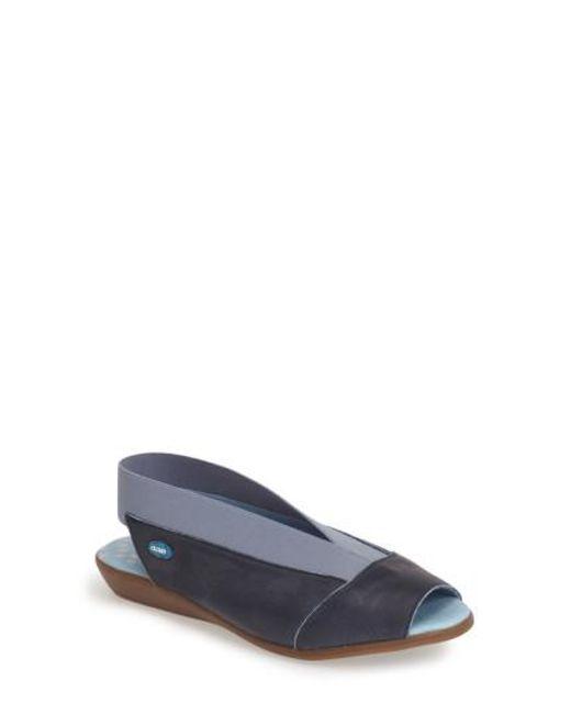 Cloud - Blue 'Caliber' Peep Toe Leather Flat - Lyst