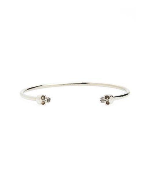 Alexander McQueen   Gray Twin Skull Cuff Bracelet   Lyst