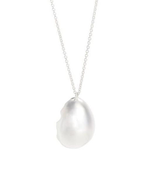 All_blues - Metallic Quail Eggshell Half Silver Pendant Necklace - Lyst