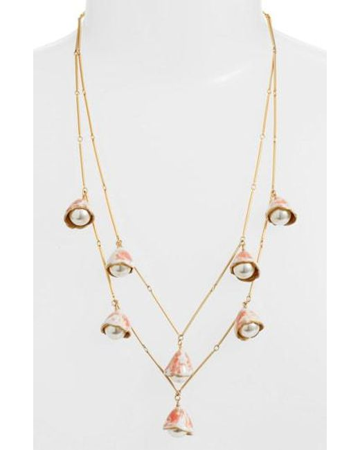 Tory Burch - Metallic Imitation Pearl Bud Rosary Necklace - Lyst