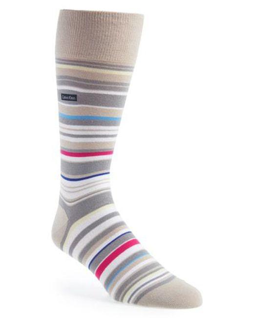Calvin Klein - Gray Multistripe Emblem Socks for Men - Lyst
