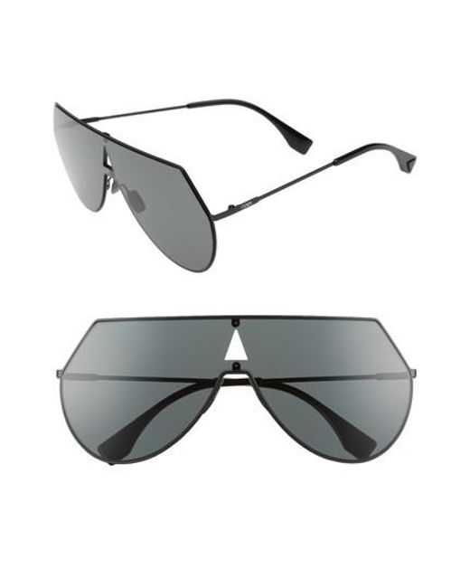 Fendi | Black 99mm Eyeline Aviator Sunglasses | Lyst