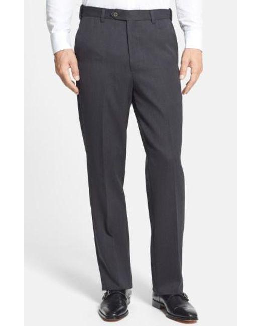 Berle   Gray Self Sizer Waist Flat Front Wool Gabardine Trousers for Men   Lyst