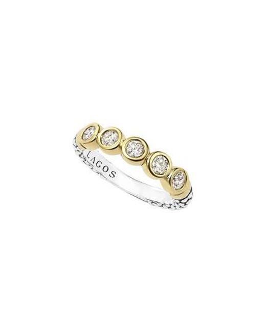 Lagos - Metallic Diamond Stacking Ring - Lyst