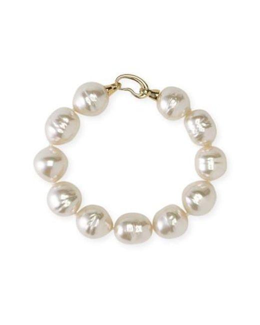 Majorica - White 14mm Baroque Pearl Single Row Bracelet - Lyst