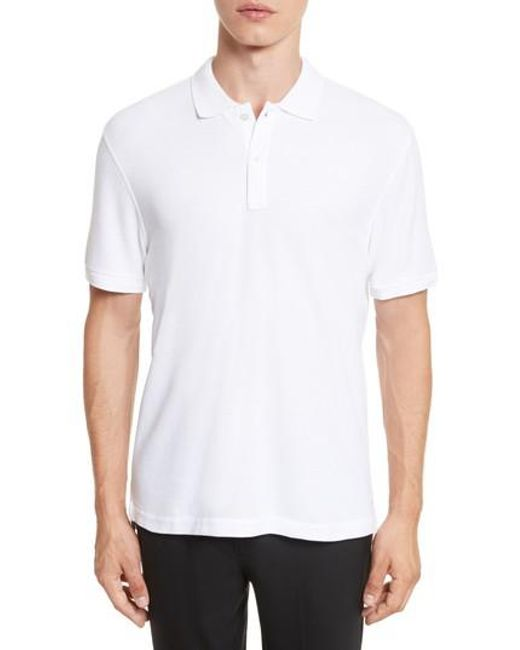 ATM | White Stitched Collar Cotton Pique Polo for Men | Lyst