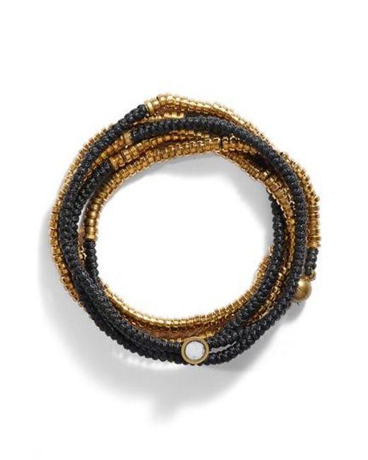 Serefina | Black Beaded Wrap Bracelet | Lyst