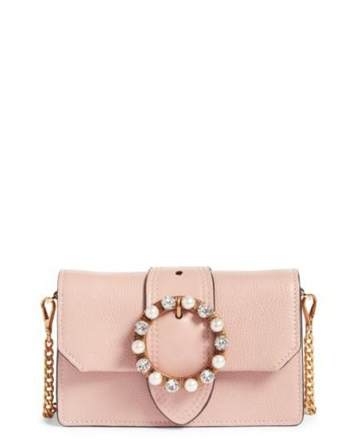 Miu Miu | Pink Lady Madras Crystal Embellished Leather Crossbody Bag | Lyst