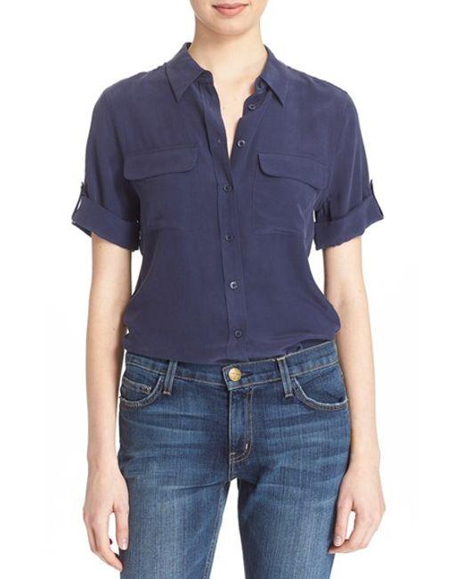 Equipment | Blue Slim Signature Short Sleeve Silk Shirt | Lyst