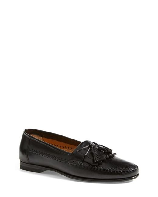 Santoni | Black 'forester' Kiltie Tassel Loafer for Men | Lyst