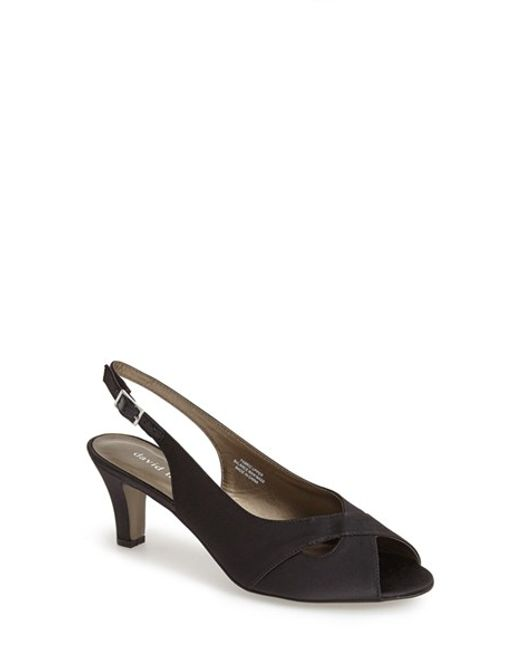 David Tate | Black Palm Slingback Satin Sandals | Lyst