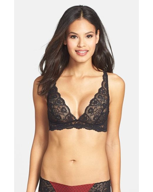 Commando | Black 'tulip' Lace Triangle Bra | Lyst