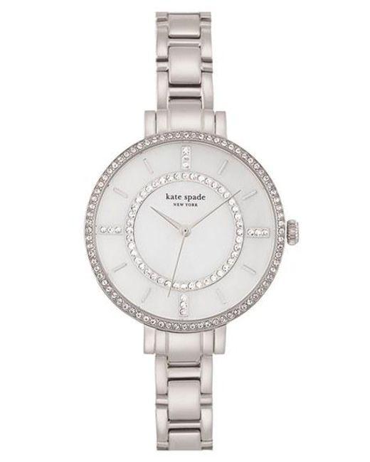 Kate Spade | Metallic 'gramercy' Crystal Bezel Bracelet Watch | Lyst