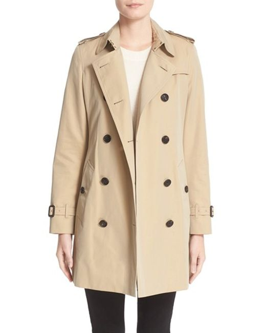 Burberry | Natural Kensington Double-Breasted Trench Coat | Lyst