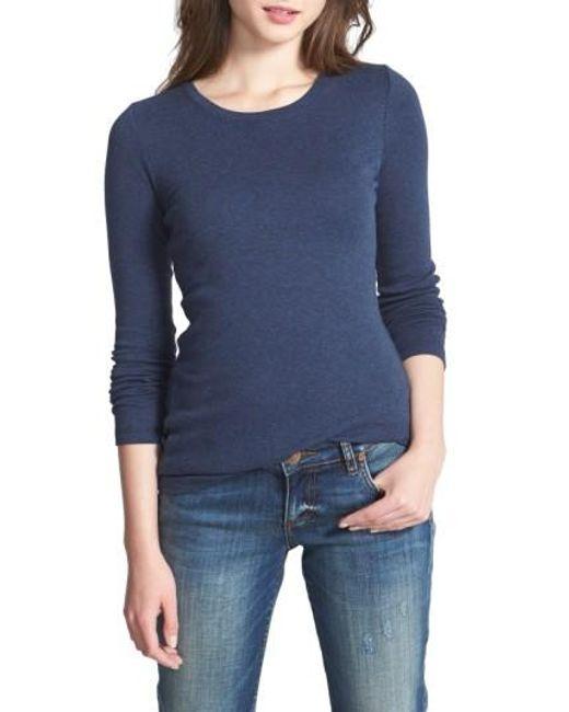 Caslon | Blue Caslon Long Sleeve Scoop Neck Cotton Tee | Lyst