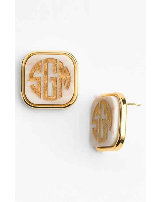 Moon & Lola | White 'vineyard' Personalized Monogram Stud Earrings | Lyst