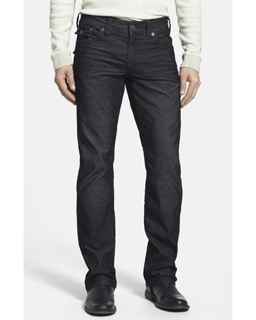 True Religion | Black 'ricky' Relaxed Straight Leg Corduroy Pants for Men | Lyst