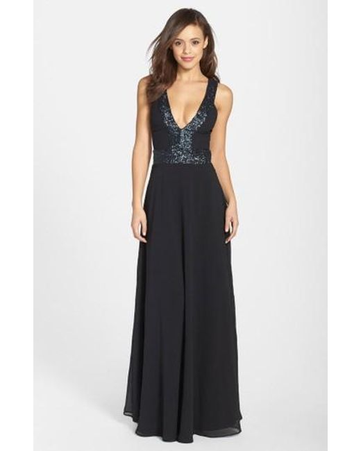 Dress the Population | Black Delani Sequined Crepe Gown | Lyst