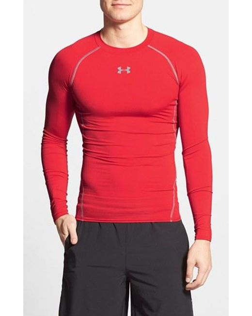 Under Armour | Red Heatgear Compression Fit Long Sleeve T-shirt for Men | Lyst