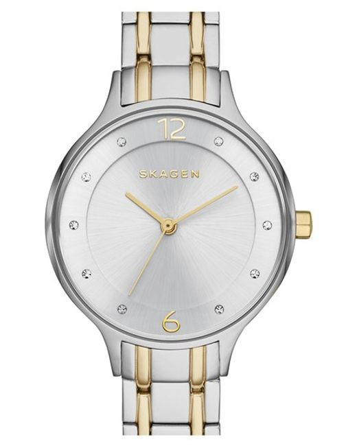 Skagen | Metallic 'anita' Crystal Index Bracelet Watch | Lyst