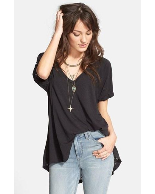 Free People | Black 'free Falling' Shirttail V-neck Tee | Lyst