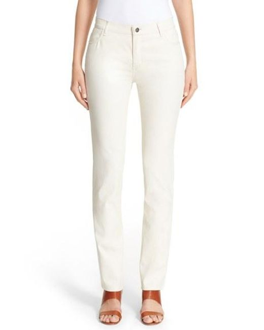 Lafayette 148 New York | Natural Waxed Denim Slim Leg Jeans | Lyst