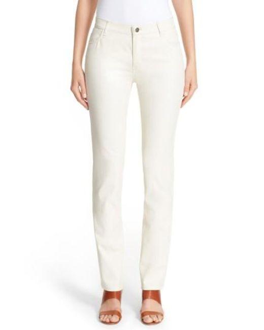 Lafayette 148 New York | Natural Waxed Denim Slim Leg Jeans | Lyst