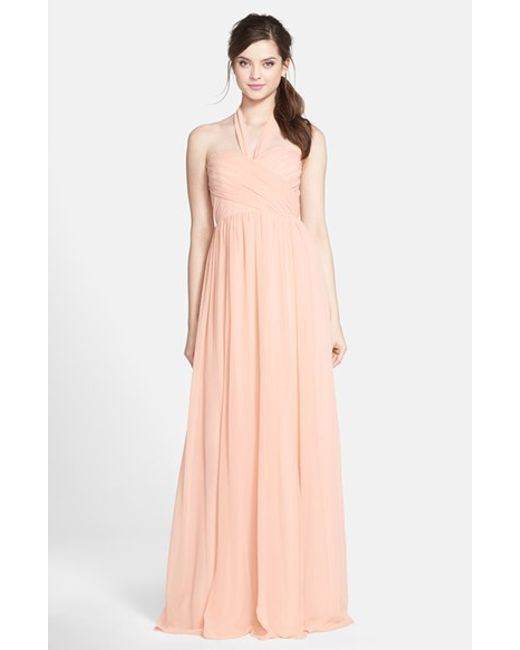 Jenny Yoo | Pink 'leah' Convertible Chiffon Gown | Lyst