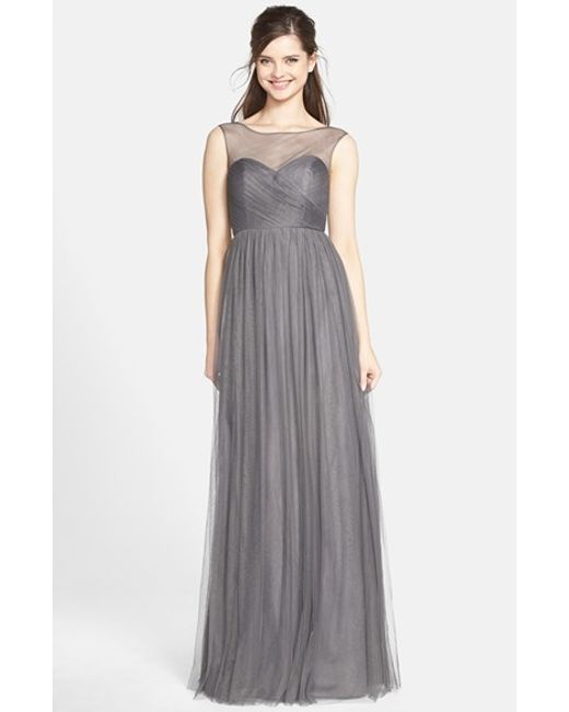 Jenny Yoo | Gray 'aria' Illusion Yoke Pleated Tulle Gown | Lyst