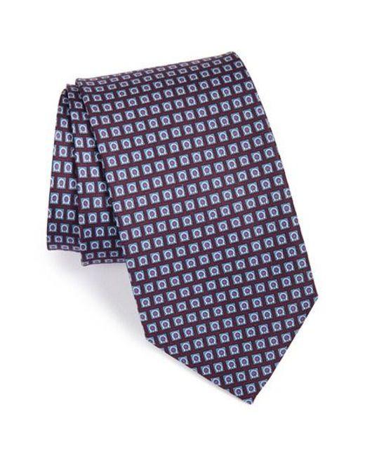 Ferragamo | Blue Gancini Print Silk Tie for Men | Lyst