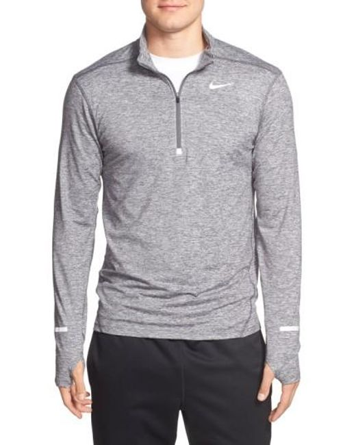 Nike   Gray 'element' Dri-fit Quarter Zip Running Top for Men   Lyst