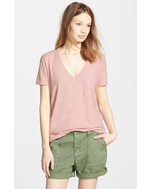 Madewell | Pink 'whisper' Cotton V-neck Pocket Tee | Lyst