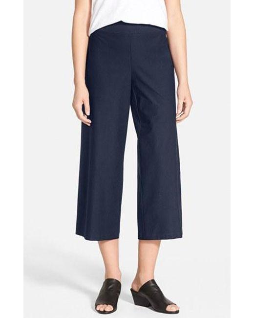 Eileen Fisher | Blue Wide Leg Crop Pants | Lyst