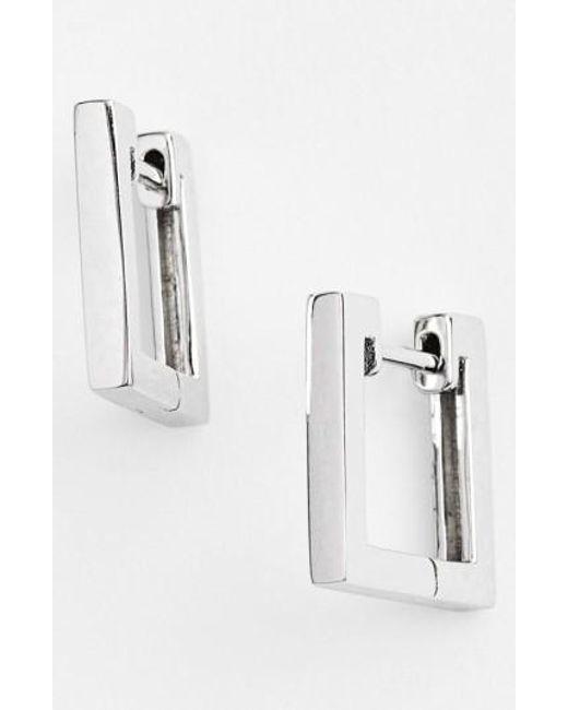 Bony Levy   Metallic Small Square Hoop Earrings (nordstrom Exclusive)   Lyst