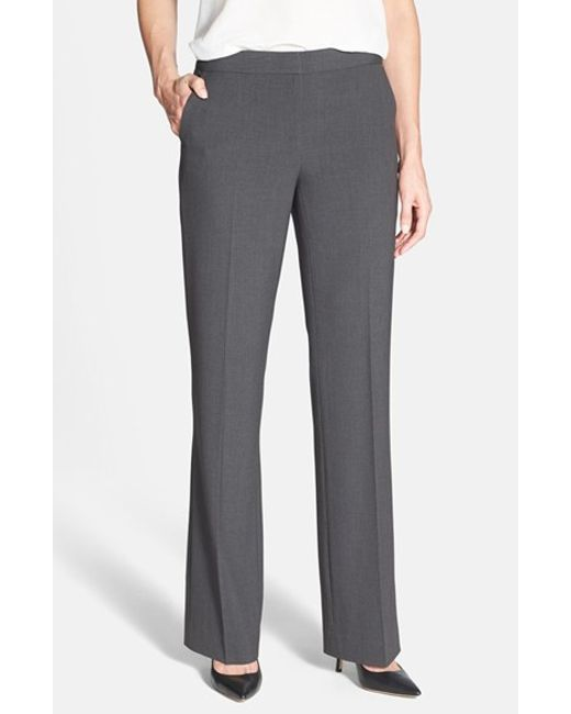 Anne Klein | Gray Straight Leg Pants | Lyst