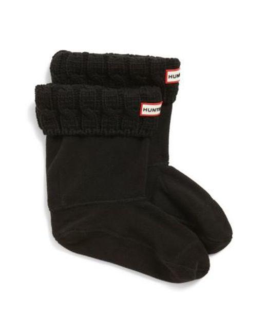 Hunter | Black Original Short Cable Knit Cuff Welly Boot Socks | Lyst