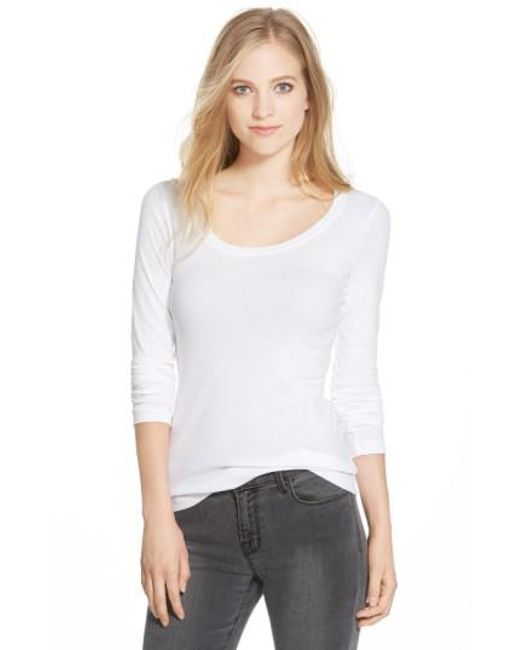 Caslon | White Caslon 'melody' Long Sleeve Scoop Neck Tee | Lyst