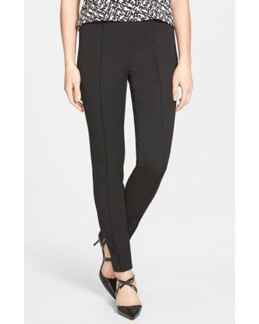 Vince Camuto | Black Side Zip Stretch Twill Pants | Lyst