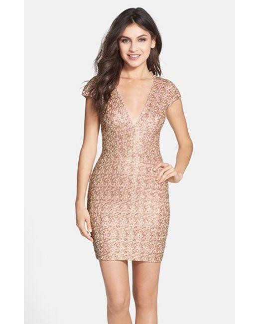 Dress the Population | Natural Zoe Sequin Minidress | Lyst